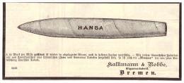 Original Werbung - 1884 - HANSA - Zigarren , Kalkmann & Nobbe In Bremen , Cigarren !!! - Etiketten