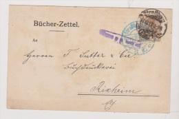 ALLEMAGNE  //  BUCHER-ZETTEL   //  DE STRASBOURG  //   POUR RIXHEIM  // 17/10/1917  // CACHET CENSURE - Stamped Stationery