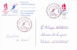 GRENOBLE (38), XVI èmes Jeux Olympiques 92 Albertville, Parcours De La Flamme, Train Club Coubertin, 09/02/1991 - 1990-99