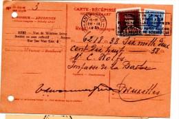 Carte Récépissé_Mandat_ De Antwerpen (28.09.1931) Pour Bruxelles - Fiscaux