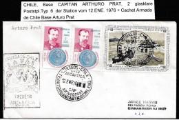 ANTARCTIC, CHILE, Base CAP. ARTURO PRAT , 2  Markings  12.ENE 1976 + Cachet, Look Scan !!  1.12-37 - Antarctische Expedities