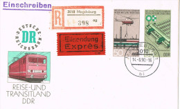 11051. Carta Certificada Expres Entero Postal MAGDEBURG (Alemania DDR) 1990. Reise - [6] República Democrática