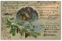""""""" Fröhliche Weihnachten """" Carte De Voeux Gaufrée Postée Depuis STOLP - Wysłany Przez SLUPSK  - Oblitération Alleman - Pologne"""