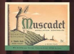 Etiquette De Vin Muscadet  - Moulin à Vent -  Donatien Bahuaud à La Chapelle Hulin (44) - Thème Moulin à Vent - Windmills