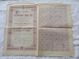 ACTION DE LA SOCIETE GENERALE DE TELEPHONIE SANS FILS TITRE DE 25 PQRTS DE FONDATEUR 1907 - Actions & Titres