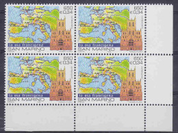 San Marino 1999 La Via Francigena/ Map Of Europe 1v Bl Of 4  ** Mnh (18578) - Europese Gedachte