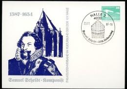SAMUEL SCHEIDT COMPOSER Postmark ORGAN 1987 East German Postal Card PP18 B2/015 - Musica