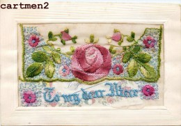 """CARTE BORDEE PATRIOTIQUE AVEC PETITE CARTE """" FORGET ME NOT """" PATRIOTISME GUERRE FLEURS - Embroidered"""