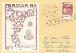 Faroe Islands.  Card Sent To Denmark.     # 04100 - Faroe Islands
