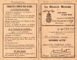VP1298 - Carte De Membre Des Médaillés Militaires - PARIS X  VERSAILLES - Cartes