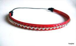 Parure Headband Et Bracelet Strass Cristal AB Sur Simili-cuir Rouge   Un Bel Ensemble à Petit Prix Pour Briller...  Le B - Bijoux & Horlogerie