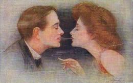 AK PAARE COUPLE COOPIE SIGNIERT KARTE: A.JONGH;DESSERT,Zigarettenrauch, KÜNSTLERKARTE ,APOLION Nr.37.ALTE POSTKARTE - Couples