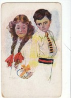 AK PAARE COUPLE COOPIE JUNGE GELIEBTE  SIGNIERT KARTE KÜNSTLERKARTE ,.ALTE POSTKARTE 1927 - Couples