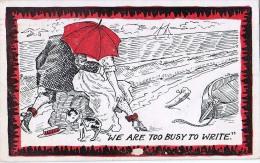 AK PAARE COUPLE COOPIE HUMOR  WE ARE TOO BUSE TO WRITE  SIGNIERT KARTE KÜNSTLERKARTE ,.ALTE POSTKARTE 1908 - Couples