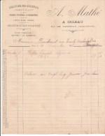 FACTURE A. MATHE à IRLEAU Par LE VANNEAU (79) CULTURES DE GRAINES - PRODUITS DU PAYS  (1908) - Alimentaire