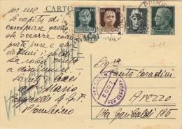 PIOMBINO LIVORNO 1945 - CARTOLINA POSTALE VINCEREMO CENT. 15 CON INTERESSANTE COMPLEMENTO AFFRANCATURA -  D11 - Storia Postale