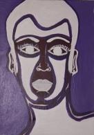 Tête Homme Man's Head, Belle Toile Non Signée Ca. 1990, France - Acryliques