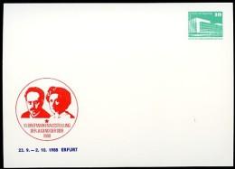 DDR PP18 D2/013 Privat-Postkarte LUXEMBURG LIEBKNECHT Erfurt 1988 - [6] Repubblica Democratica