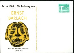 ERNST BARLACH DDR PP18 D2/016 Privat-Postkarte Güstrow 1988 - Scultura