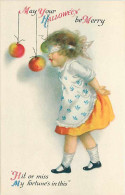 231795-Halloween, Wolf No 31-2, Ellen Clapsaddle, Girl Wearing Dress Blind Folded Trying To Bite An Apple On String - Halloween