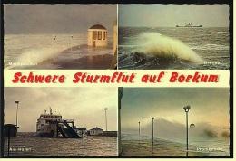 Borkum  -  Schwere Sturmflut  -  Mehrbild-Ansichtskarte Ca.1980   (3779) - Borkum