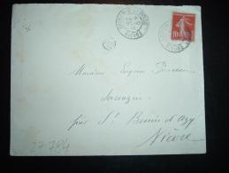 LETTRE TP SEMEUSE 10C OBL. 20-10-11 BRINON-S-BEUVRON NIEVRE (58) OR ORIGINE RURALE - Marcophilie (Lettres)