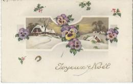 """Carte  De """"Joyeux Noël""""/Maison Sous La Neige Avec Pensées/Vaucresson/S & O/ 1942   CVE43 - Kerstmis"""