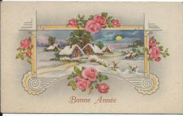 """Carte  De """"Bonne Annéel""""/Maison Sous La Neige Avec Roses/Vers 1930-35     CVE44 - Nouvel An"""