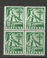 LITAUEN Lithuania Litva 1940 In 4-Block MNH - Lituanie