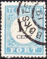 1881-1887 Portzegels Lichtblauw / Zwart Cijfer : 1½ Cent NVPH  P 4 D III Met Open Kralen - Portomarken