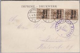 Belgien 1915-04-01 Antwerpen Zensur AK Gesendet Nach Berlin Mit 3er-Streifen Senkrecht Germania Audruck Belgien 3 C. - WW I
