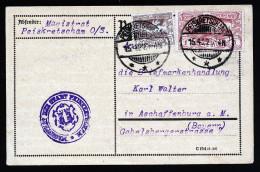 A2942) Oberschlesien Karte Vom Magistrat Peiskretscham 15.4.1922 Nach Aschaffenburg - Germany