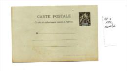 EP Entier Postal Carte Postale Indochine  10c Noir Sur Vert1892 Type Groupe Allégorique ACEP CP1 - Briefe U. Dokumente