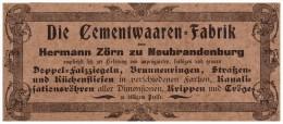 Original Werbung - 1901 - Cementwaaren-Fabrik , H. Zörn In Neubrandenburg I. Mecklenburg !!! - Werbung
