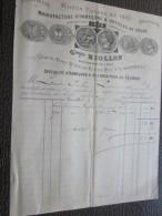 MARSEILLE 3 Sept 1884 Facture à En-tête Commerciale Illustration>Manufactu Re D´hameçon Et Article De Pêche Gard Niollon - France
