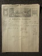 Toulouse 1er Février 1884 Facture à En-tête Commerciale J.Deltil  Fabrique De Ciel Ouvert Rideauxcheminée Usine Vapeur - France