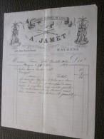 BAYONNE 30 OCT 1883 Facture à En-tête Commerciale Illustration A.Jamet Fabrique D'armes De Luxe Armurier Saint-Étienne - 1800 – 1899