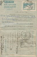 Myanmar Burma 1950 Rangoon To India Postal Stationary Air Letter Aerogramme - Myanmar (Burma 1948-...)