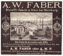 Original Werbung - 1901 - A.W. FABER , Bleistiftfabrik In Stein B. Nürnberg !!! - Schreibgerät