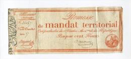 !!! PROMESSE DE MANDAT TERRITORIAL LOI DU 8 VENTOSE AN 4 BON POUR 100 F - Cambiali