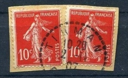 !!! 10 C SEMEUSE ECARLATE + NORMAL OBLITERES EN ALGERIE SUR FRAGMENT - 1906-38 Semeuse Camée