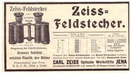 Original Werbung - 1901 - Zeiss - Feldstecher , Optische Werkstatt In Jena , Fernglas , Militär !!! - Optics