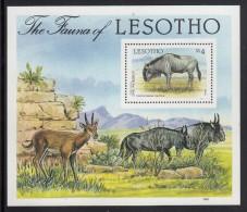 Lesotho MNH Scott #592 Souvenir Sheet 4m Cape Wildebeest - Flora And Fauna - Lesotho (1966-...)