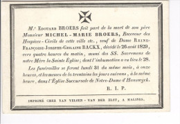 Broers, Michel, Veuf De Backx Reine, Malines 26 Août 1829 - Obituary Notices
