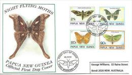 PAPOUASIE.  Papillons De Nuit. Yv.nr 716/19. FDC Adressé En Australie 1994 - Schmetterlinge