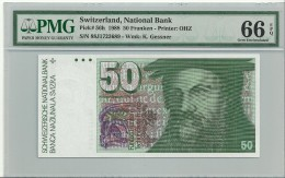 Switzerland 50 Franken 1978-88 (88)  P56h Graded 66 EPQ By PMG (GEM UNC) - Suiza