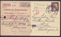 FRANCE - 1943 -  QUITTANCE DE LA BANQUE POPULAIRE DE DIEDENHOFEN (THIONVILLE) POUR KOLN - - Alsace-Lorraine