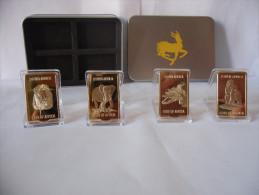 LOTTO LINGOTTI KRUGERRAND ONE OUNCE IN FINE GOLD 999 PLACCATO ORO 24k+TIN BOX - Altre Monete