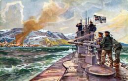 U-BOOT Deutsches U-Boot Im Eismeer - Beschießung Von Alexandrowsk - U-Boot Spende 1917, Künstlerkarte V.Pro.Willy Stöwer - Unterseeboote
