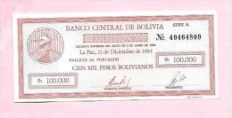 Bolivie :chèque De Gérence 100000 Bolivianos 1984 (superbe Neuf Recto/verso) - Bolivie